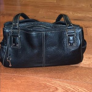 Black leather Fossil handbag shoulder purse bag